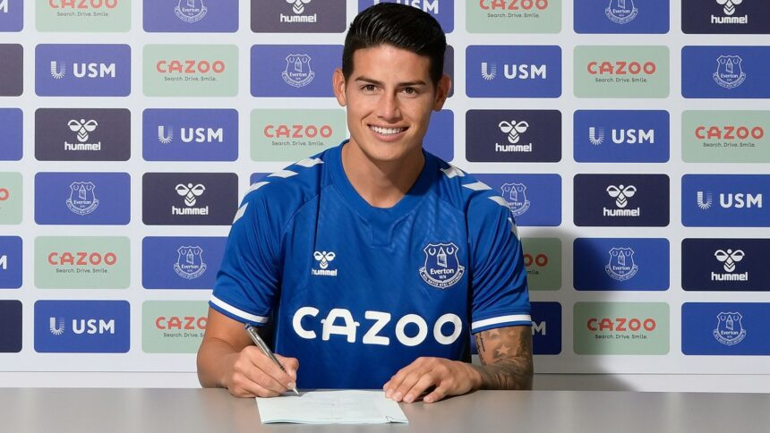 James Rodriguez joins Everton from Real Madrid for £22m