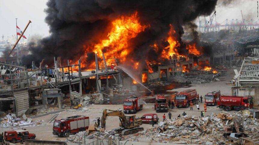 Beirut port ablaze, weeks after massive blast