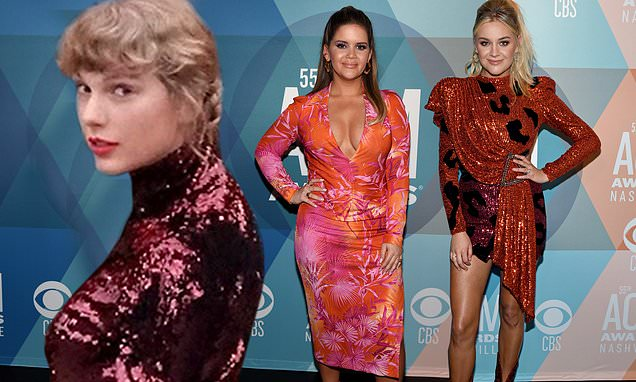 Taylor Swift sparkles in sequin turtleneck as Kelsea Ballerini and Maren Morris dazzle at ACM Awards