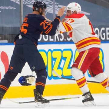 Flames start hot, burn out vs. Oilers as new coach Sutter watches from afar