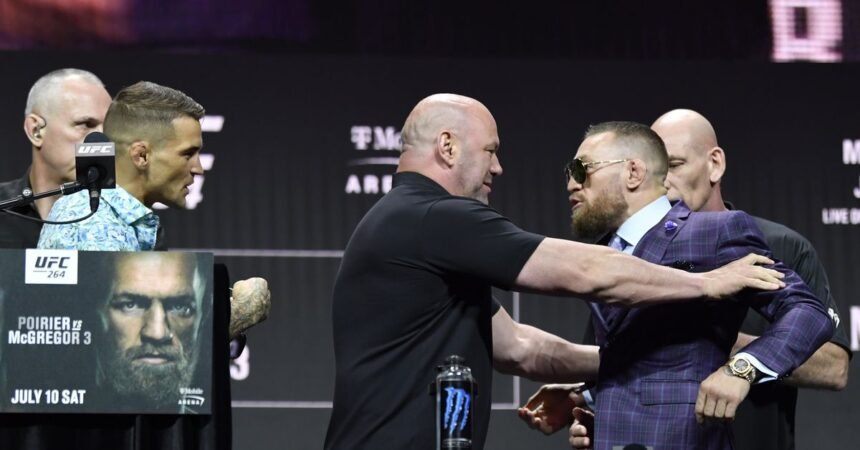 Conor McGregor erupts with name-calling at UFC 264 press conference, but Dustin Poirier appears to win war of…