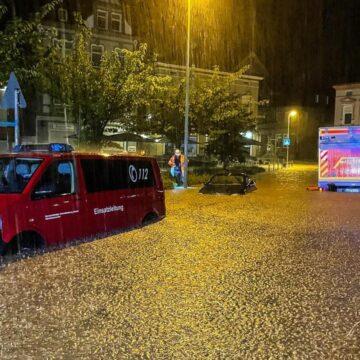 Unwetter in Hagen: Heftiger Regen sorgt für überschwemmte Straßen
